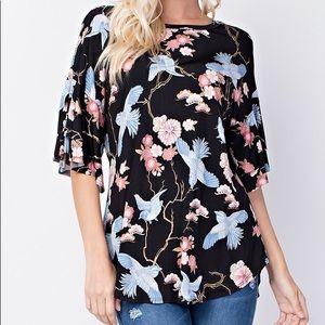 Tops - Black Floral Plus Size Tunic